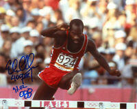 EDWIN MOSES SIGNED AUTOGRAPHED 8x10 PHOTO OLYMPIC 400 HURDLES LEGEND BECKETT BAS