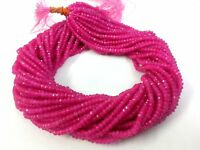 "5 Strands Lot Pink Chalcedony Rondelle 4-4.5 mm Faceted Gemstone Beads 13""Inch"