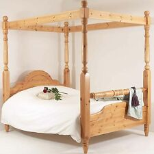 4ft6 Double Four Poster Bed Frame Solid Pine Wood HIDDEN FITTINGS Classic Rail