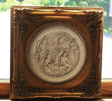 New listing Greco / Roman Gilt Framed Marble Relief Plaque of Ceres With Other Gods/Goddess