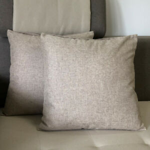 """20""""x20"""" 2 Pack Burlap Linen Throw Pillow Cases Cushion Covers Solid Pillow Cover"""