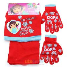 Dora the Explorer Beanie Hat Glove Scarf 3pc Set  Snow Days Red