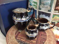 Staffordshire Brownware Clarke's Patent Black Glaze Water, Milk Jug & Sugar Bowl