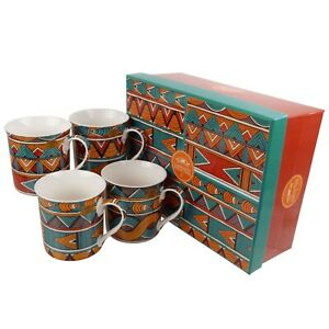 Gift Box Set of 4 China Mugs/Cups Bali Design by The Leonardo Collection