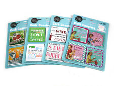 16 x Coasters Square Cork Drink Vintage Retro Placemats Coffee Wine Cup Mat Tea
