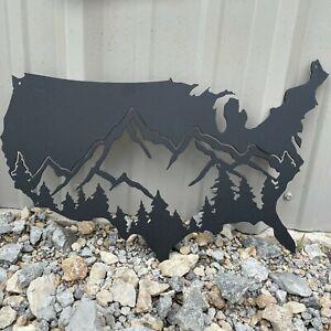 "Metal 20"" USA Mountain Range Custom Color Plasma Cut Sign Art Rocky Mountain Lod"