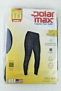 Women's Base Layer Pant Warm Lightweight Black XS Polarmax Snowboard Ski Winter