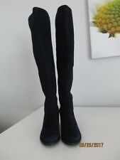 New Stuart Weitzman Navy Blue Black Suede Over the Knee Boots Size 10 M