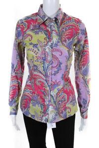 Etro Womens Paisley Print Button Down Shirt Multi Colored Size EUR 42