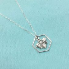 Beautiful Queen Bee in Bee Hive Silver Charm with Stianless Steel Necklace Set.
