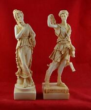 Persephone Goddess and Artemis Set Statue Aged Patina 6,5 inch Free Shipping