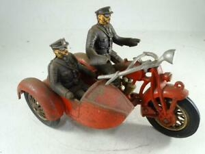 "Antique Indian Motorcycle Cast Iron Police Toy Model Side Car Hubley 8.5"" Long"