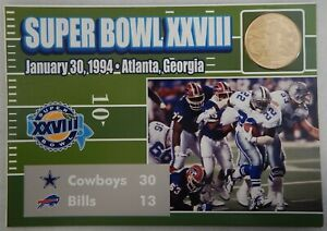 Super Bowl XXVIII Dallas Cowboys Vs Buffalo Bills 1994 Collectors Coin