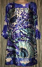 Laundry by Shelli Segal Dress Size XS Blue White Feather Print Sheath 100% Silk