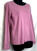 J Jill Womens Long Sleeve Shirt Dusty Rose Pink Cotton Satin Neck Trim Top Small