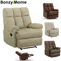 Manual Recliner Chair Suede Leather Sofa Padded Armrest Seat Sturdy Structure