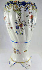 """7.25"""" Faience Hand Decorated Floral Vase"""