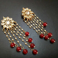 Indian Red Beads Jewelry Kundan Earrings Set Women Ethnic Party wear Jewerly