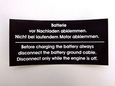 BMW E24 Aufkleber Sticker Batterie abklemmen BMW 628 CSI - M635 CSI (E24)