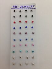 STUNNING 925 STERLING SILVER NOSE STUDS CLAWSET COLOURED/CLEAR *HOT*