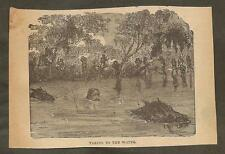 VINTAGE ILLUSTRATION - WILD BILL HICKOK ESCAPING FROM CONFEDERATE SOLDIERS