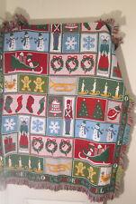 Noel Christmas Tapestry Woven Blanket Festive Holiday Decor