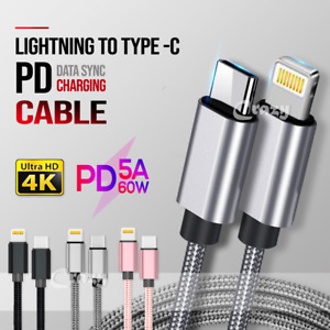 PD Fast Charging Lightning to Type C Cable Apple iPhone 11 Pro XS Max X XR 7 8