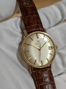 Omega 9k Gold Automatic Geneve Vintage Dress Watch