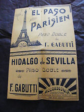 Partitura El Paso Parisino F Gabutti Hidalgo, de Sevilla