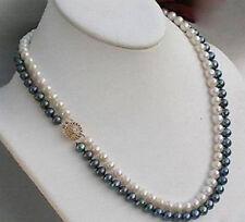 """2 rows 8-9 mm black + white Akoya SOUTH SEA pearl necklace 18"""" 14K Gold Clasp"""