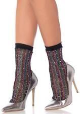 Black & Rainbow Lurex Glitter Fishnet Ankle Socks Anklets Festival by Leg Avenue