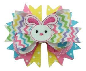 "NEW ""CHEVRON BUNNY"" Easter Ribbon Sculpture Hair Bow Alligator Clip Girls Rabbit"