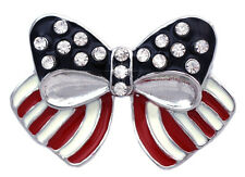 July 4th Independence Day USA American Flag Design Bow Ribbon Brooch Pin p107