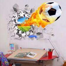 3D Football Soccer Crack Wall Art Sticker Decal Vinyl Graphic Boys Bedroom NEW