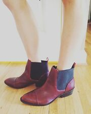 Free People DOLCE VITA  LEATHER Maroon ANKLE BOOT 10 NEW D'orsay Point Well Made