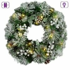 Pre-Lit Pine Cone Wreath Frosted Berry Tips Battery LED Xmas Door Decoration