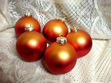 5  RED  TO  ORANGE SATIN GLASS  Christmas Ornaments 10'' AROUND 3 1/2'' L