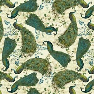 Exactly 3 Yards of 100% Cotton Fabric - Green Peacock