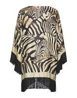 Etro Silk Blend Zebra Fringe Open Poncho Style Kimono Jacket OS