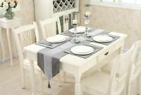 Table Runner Set Cushion Chenille Tasseled Placemat for Wedding Venue Silver