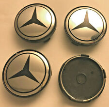 4 x Mercedes Benz Chrome / Black 60mm Wheel Centre Caps Center Caps Base (Black)