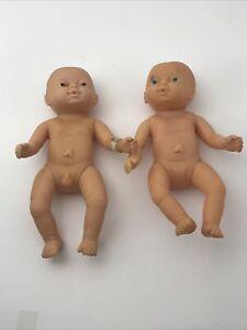 "Anatomically Correct 8"" Newborn Twin Baby Boy & Girl Vinyl Dolls Vintage Emson"
