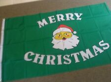 MERRY CHRISTMAS GREEN FLAG FLAGS EYELETS 5'X3' BRAND NEW POST FREE IN UK