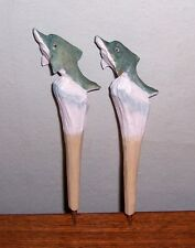 2-Carved Wooden Animal Ink Pen DOLPHIN