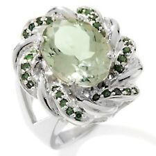 5.40ct Oval Prasiolite and Green Diamond Sterling Silver Ring Size 8