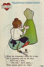 """TUCKS VALENTINE SERIES """"C"""" MISS FITT DRESSMAKER 1909"""