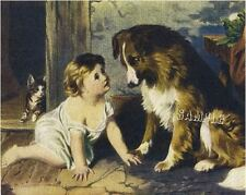 """CAN'T YOU TALK? Victorian BABY Collie CANVAS Giclee Art Print - LARGE 19"""" x 13"""""""