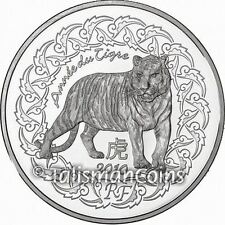 France 2010 Year of the Tiger Chinese Lunar Zodiac 5 Euro Crown-Sized Silver