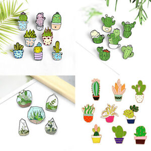 Green Potted Plant Enamel Pin Cactus Brooches Lapel Enamel Pins Badge Brooch New