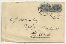 1901 Johannesburg Sudafrica BOER WAR periodo & gtvelp Holland no censori 2 x 2 1/2 D